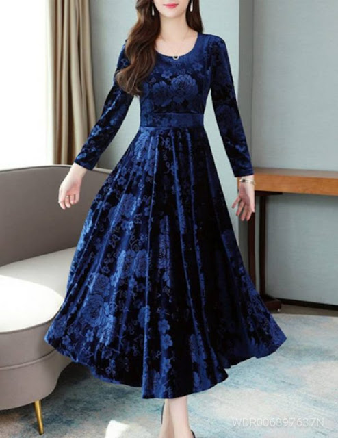 Navy Blue Printed Velvet Long Dress