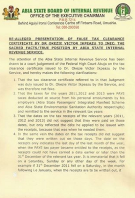 Abia State Internal Revenue Service releases statement on the alleged fake tax clearance of Ikpeazu, says its not fake!