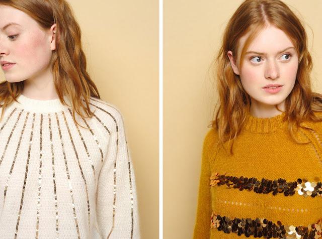 Белый и желтый свитер с пайетками