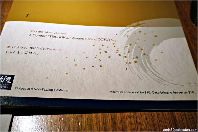 Carta del Restaurante Japonés Ootoya Chelsea en Nueva York