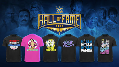 WWE Hall of Fame 2017 T-Shirt Collection - Kurt Angle, Diamond Dallas Page, Ravishing Rick Rude, Beth Phoenix, Teddy Long & The Rock 'n' Roll Express