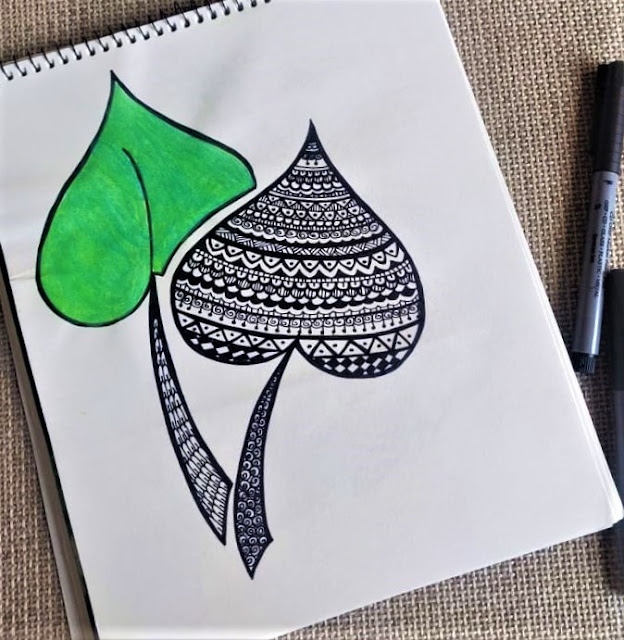 Leaf Heart Shape Mandala drawing, sketch art for beginners