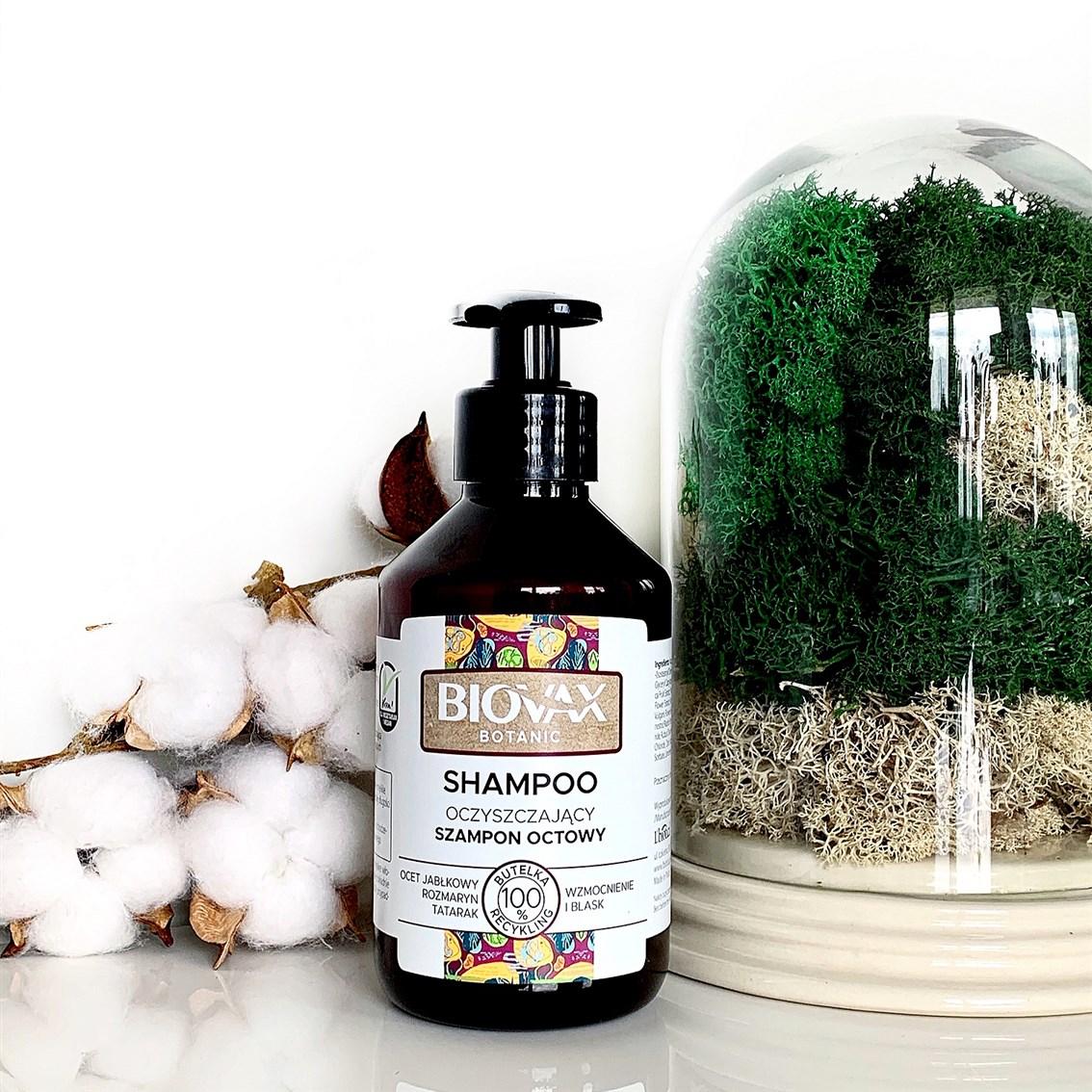 L'Biotica Biovax Botanic Ocet Jabłkowy i Rozmaryn Oczyszczający szampon octowy