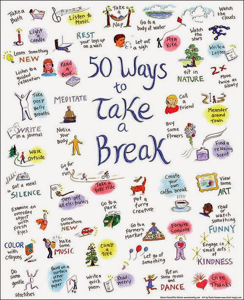 50 different ways to relax, de-stress and take a break from everyday life.