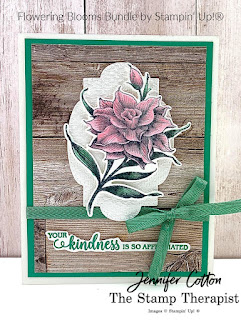 Thank you card using Stampin' Up!'s Flowering Blooms Bundle!  We also used the In Good Taste designer paper, Stitched So Sweetly dies, Tasteful Textile embossing folder, and Just Jade In Color Ribbon.  Click the picture to go to blog/video!  #StampinUp #StampTherapist