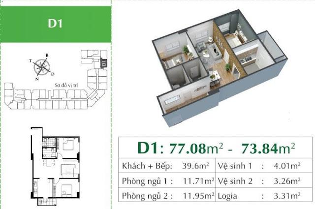 Căn D1 chung cư Ecocity Long Biên.