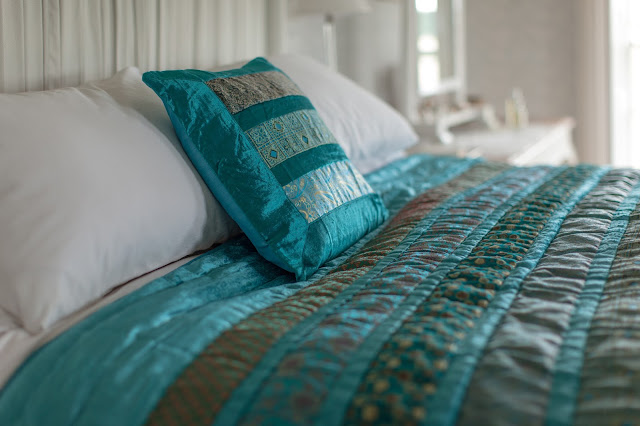 teal velvet & brocade cushion & quilt