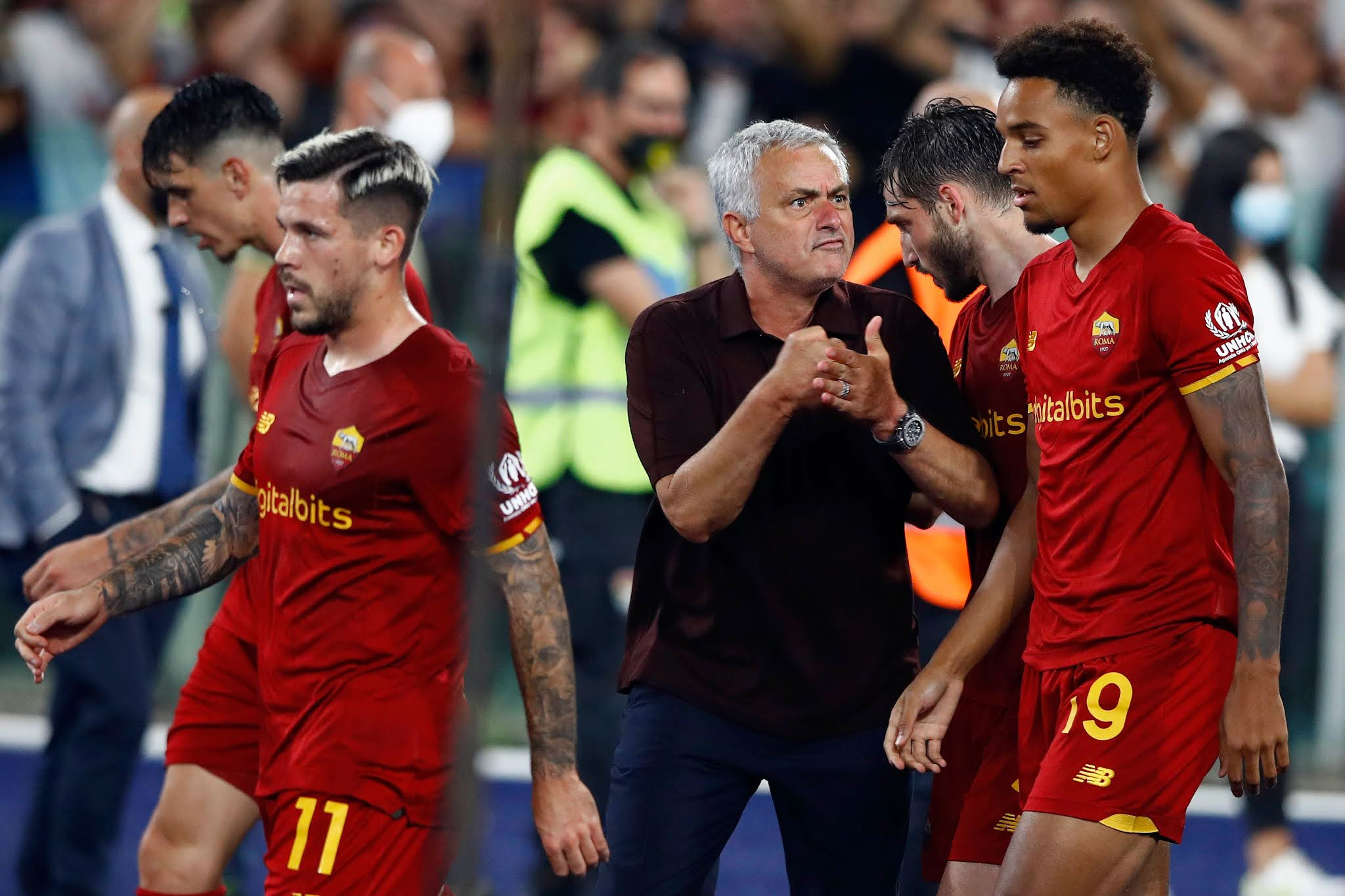 Jose Mourinho's Roma celebrating victory in his 1000th game