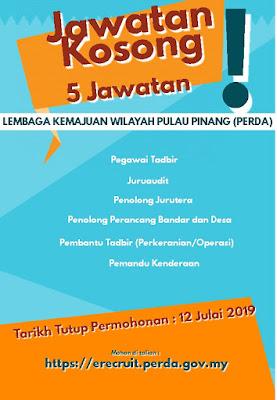 Jawatan Kosong di Lembaga Kemajuan Wilayah Pulau Pinang (Perda) 2019