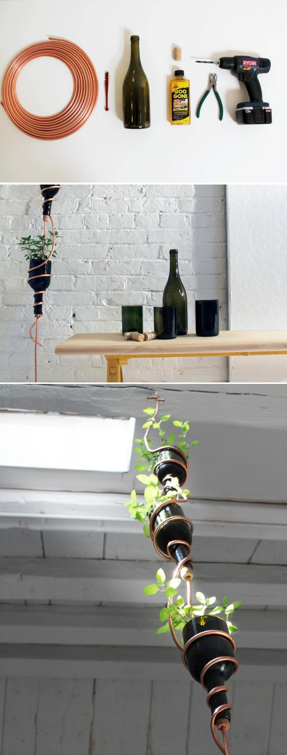 Turn empty wine bottles into a hanging herb garden