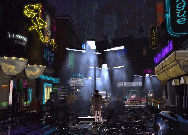 Un agente está de pie en medio de una calle llena de luces de neón.