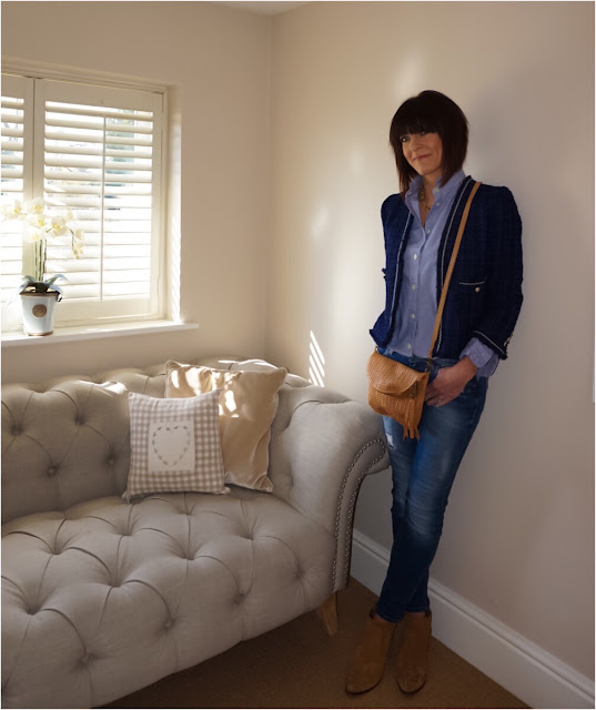 My Midlife Fashion, Zara Knit Jacket, Uniqlo Ines High Collar Blouse, Lotus selma bag, joules linen shirt, boden skinny jeans, zara cowboy boots