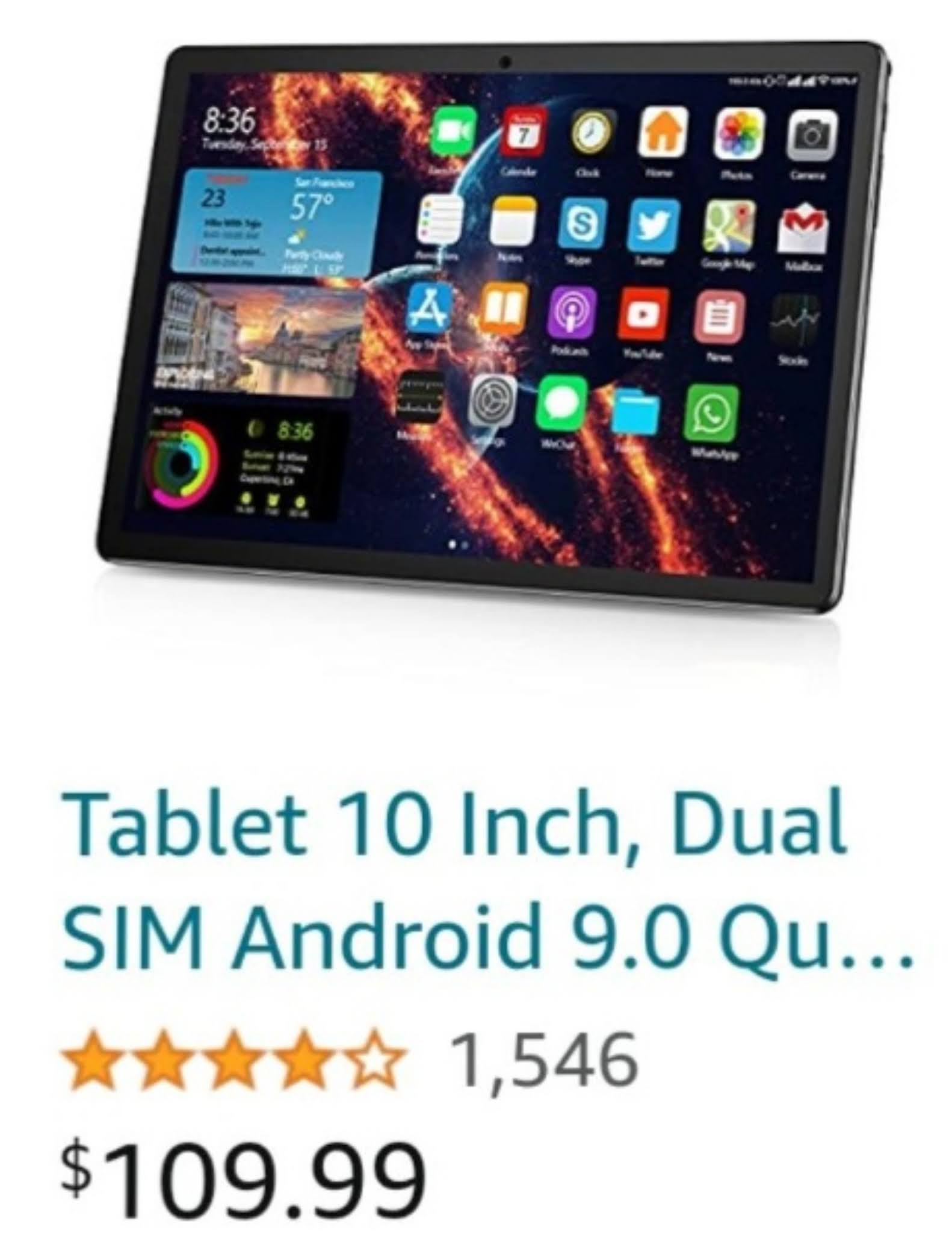 Tablet 10 inch, dual sim android 9.0