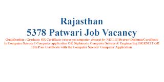 5378 Patwari Job Vacancy in Rajasthan