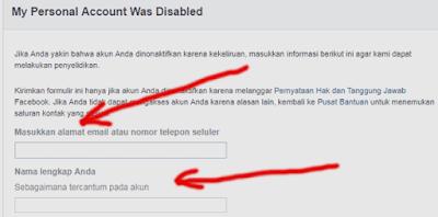 cara mengisi formulir ajukan bannding facebook