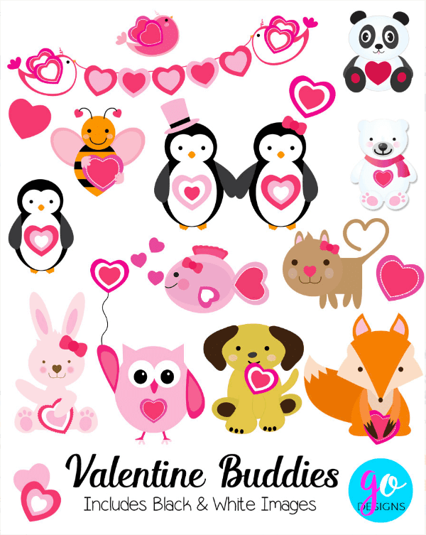 Valentine Animals Clipart