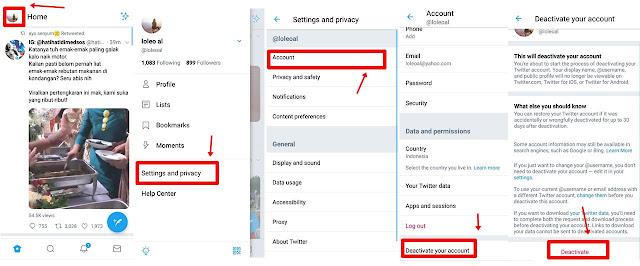 Cara Menghapus Akun Twitter Di Hp