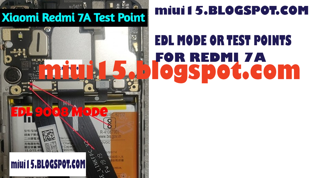 Edl Mode in Redmi 7a FastBoot or Edl Mode Test points | MIUI15