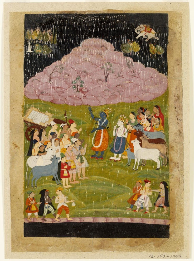 Krishna is raising up Mount Govardhan on one finger-tip - Rajput Painting, Bundi, c1660
