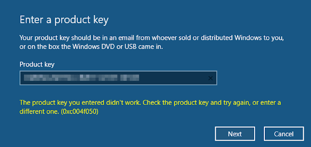 The product key you entered did not work