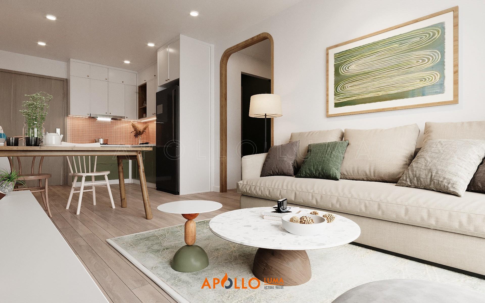 Thiết kế nội thất căn 2PN+1WC (55m2) S1.08-20 Vinhomes Ocean Park