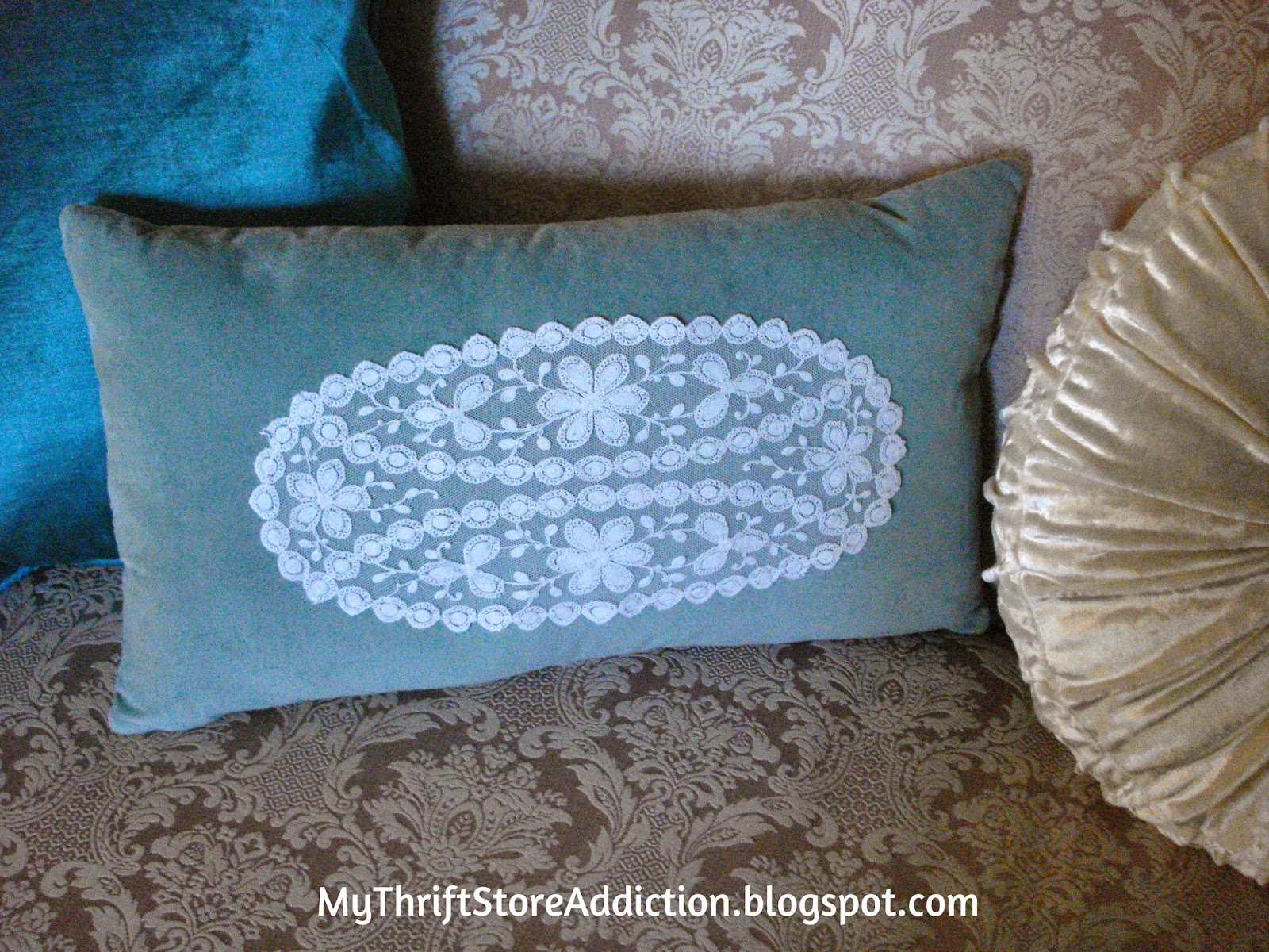 Vintage linen embellished throw pillow