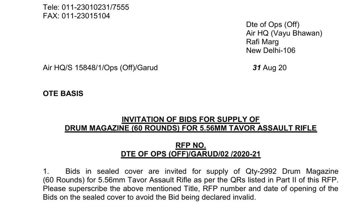 TAR-21 Assault Rifle - Drum Magazine - Indian Air Force - IAF - Invitation Of Bid - 01