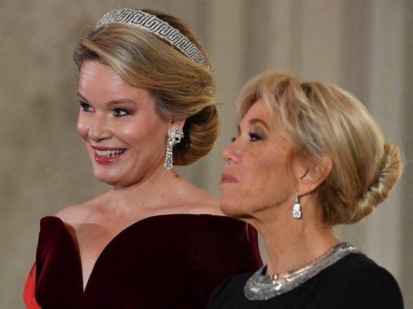 Queen Mathilde, President Emmanuel Macron, Brigitte Macron, Princess Astrid and Princess Claire diamond tiara, wore Armani dress