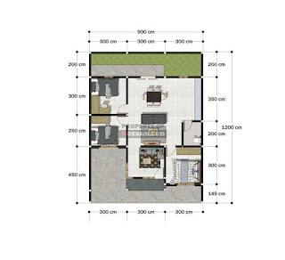 Denah Rumah 9x12 3 Kamar Tidur Sederhana