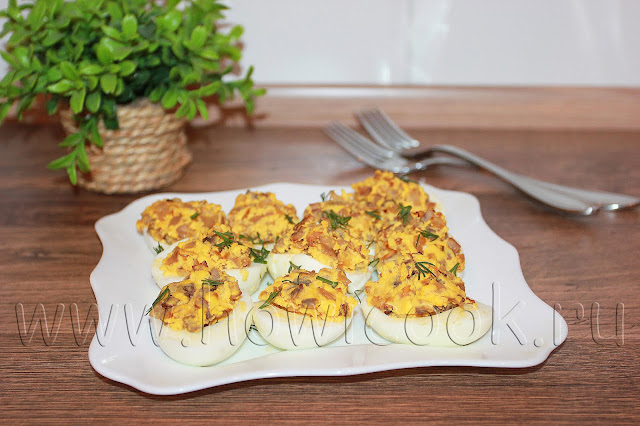 рецепт яиц, фаршированных шампиньонами с пошаговыми фото