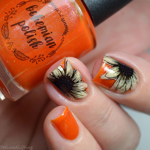 autumn sunflower nail art