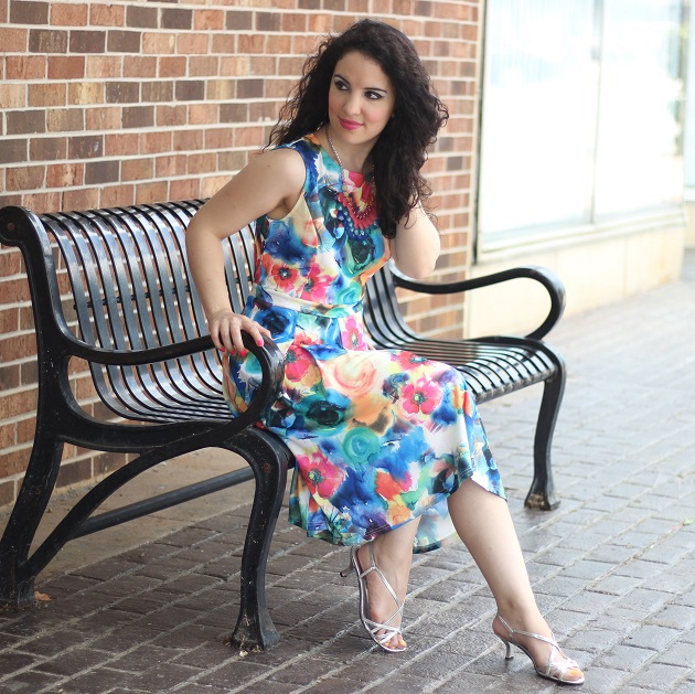 Bold Floral Print Dress