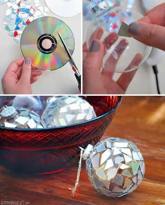 Decoração natalina de CDs