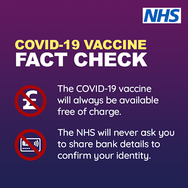UK Government the NHS will NEVER charge you for a vaccine