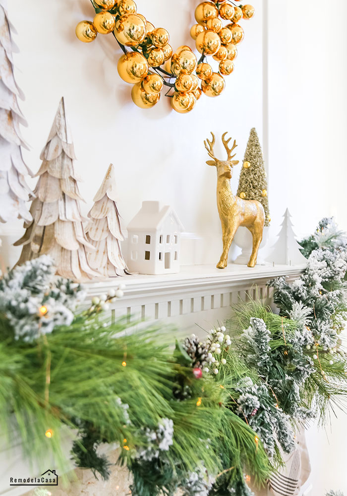 Christmas mantel with gold and black