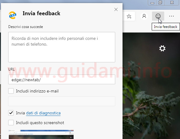 Microsoft Edge Chromium pulsante e popup Invia feedback