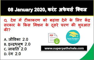 Daily Current Affairs Quiz in Hindi 08 January 2020