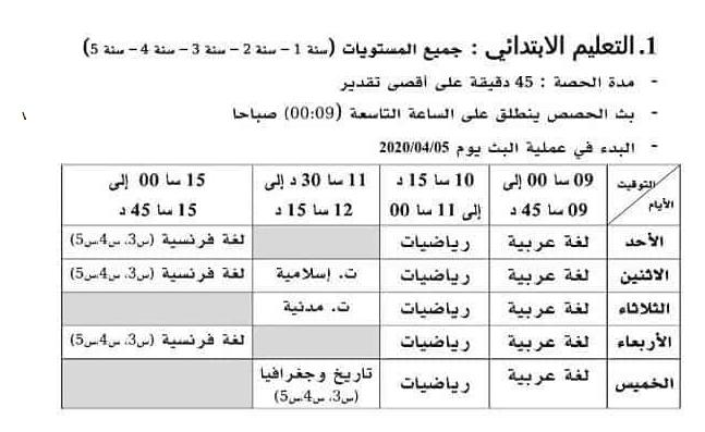برنامج وتوقيت بث دروس الفصل الثالث 2020  لسنوات التعليم الابتدائي على التفزيون الجزائري