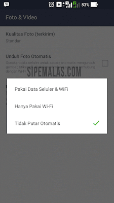 mematikan Autoplay Video Line