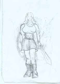 Female warrior drawing