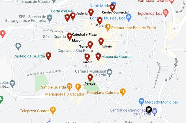 mapa que ver en Guarda Portugal