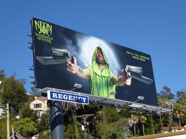 Neon Joe Werewolf Hunter TV billboard