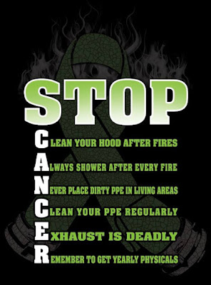 STOP CANCER graphic: Clean your hood after fires. Always shower after every fire. Never place dirty PPE in living areas. Clean your PPE regularly. Exhaust is deadly. Remember to get yearly physicals.