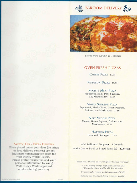 Disney World In Room Delivery Menu