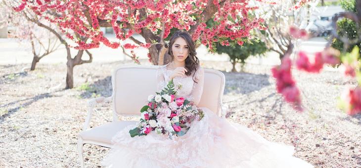 Cherry Blossom Bridal Portraits at Hawk Ranch