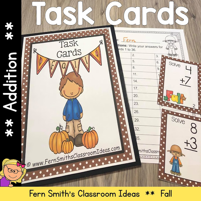 Fall Addition Task Cards #FernSmithsClassroomIdeas