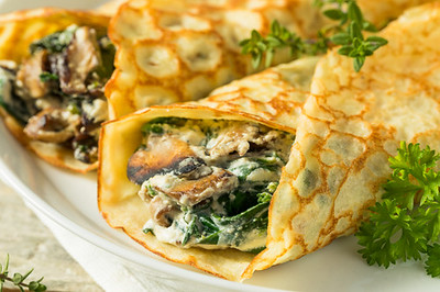Best chickpeas, spinach and mushrooms crepe recipe