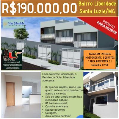 Residencial SOLAR LIBERDADE, 4 casas duplex com entrada independente, Liberdade/Santa Luzia/MG