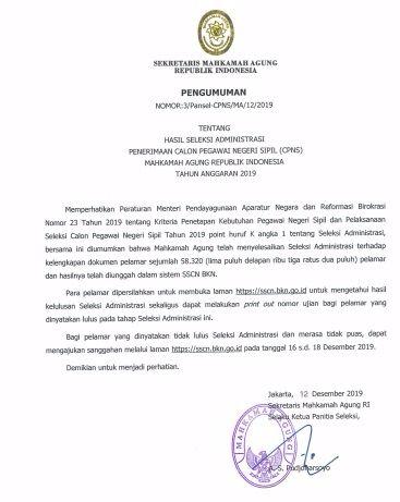 yang telah selesai mendaftar dan menjalankan semua persyaratan untuk daftar CPNS Bagaimana Cara Melihat Hasil Seleksi Administrasi Penerimaan Calon Pegawai Negeri Sipil (CPNS) Mahkamah Agung Ri TA 2020