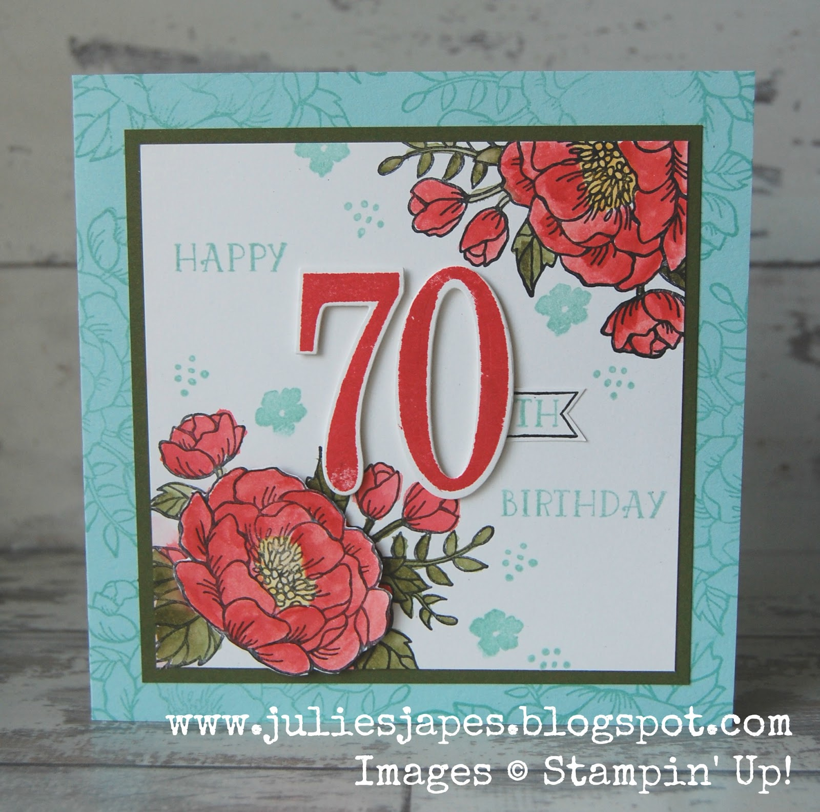 Julie kettlewell stampin up uk independent demonstrator order mums 70th birthday card bookmarktalkfo Choice Image